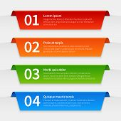Colorful Infographic Banners. Tabbed Labels Template, Infographics Numbered Ribbon Frames With Text. poster