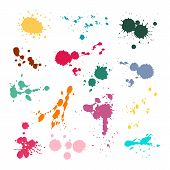 Color Ink Spot Set. Splash And Drop Colours, Colored Stain Paints Blotting Stain Vector Colorful Abs poster