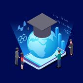 Worldwide Education Isometric Concept. International Students And Education App For Smartphone Vecto poster