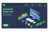 Business Statistics Charts, Diagrams Vector Concept. Financial Analytics Banner Template. Analytics  poster