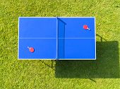 Aerial View Blue Table Tennis Or Ping Pong. Close-up Ping-pong Net. Close Up Ping Pong Net And Line. poster