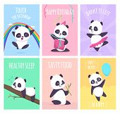 Panda Cards. Cute Little Bear Animals Cover Placard Vector Templates Collection. Illustration Of Pan poster