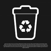 Black Recycle Bin With Recycle Symbol Icon Isolated On Black Background. Trash Can Icon. Garbage Bin poster