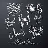 Vector Set Of Handwritten Inscriptions Thank You. Calligraphic Lettering Isolated On Black Backgroun poster