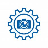 Setting Photo Camera Icon On White Background, Photo Camera And Gear Service Icon Vector Design, Pho poster