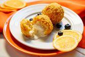 Deep Fried Ice Cream Ball Tempura Dessert Close-up. Sweet Asia Catering Scoop Crunchy Icecream Food. poster