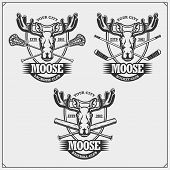 Baseball, Lacrosse And Hockey Logos And Labels. Sport Club Emblems With Moose Or Elk. Print Design F poster