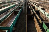 Freight Cars At A Large Railway Station. Cargo Transportation And Railway Trains poster