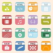 Square File Types And Formats Labels Icon Set. File Type Format Icons Presentation Document Symbol.  poster