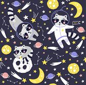 Seamless Pattern With Cute Raccoon Astronaut, Planets, Stars And Comets. Space Background For Kids.  poster