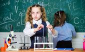 Smart And Confident Children. Chemistry Lesson. Students Doing Biology Experiments With Microscope I poster