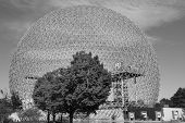 foto of geodesic  - The geodesic dome called Biosphere is a museum in Montreal dedicated to water and the environment. It is located at Parc Jean-Drapeau, on Saint Helen