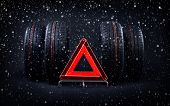 Change Tires For Winter Advice With Summer Tires, Snow And Red Emergency Stop Sign. Time To Switch Y poster