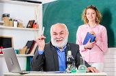Biological Research. Teacher And Girl With Notepad Near Chalkboard. College University Education. Bi poster