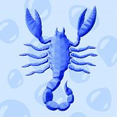 Beautiful Low Poly Illustration With Blue Zodiac Sign Scorpio On Background With Bubbles poster