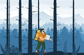 Tourist Man With Map And Backpack Performing Outdoor Touristic Activity. Forest Trees Mountain Lands poster