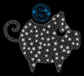 Glowing Mesh Piggy Bank With Glare Effect. Abstract Illuminated Model Of Piggy Bank Icon. Shiny Wire poster