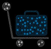 Flare Mesh Luggage Trolley With Sparkle Effect. Abstract Illuminated Model Of Luggage Trolley Icon.  poster
