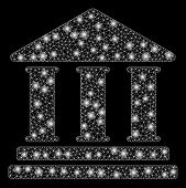 Glowing Mesh Library Building With Sparkle Effect. Abstract Illuminated Model Of Library Building Ic poster