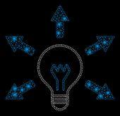 Glossy Mesh Idea Bulb With Glare Effect. Abstract Illuminated Model Of Idea Bulb Icon. Shiny Wire Fr poster