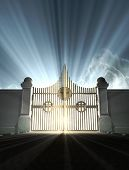image of entryway  - A depiction of the pearly gates of heaven with the bright side of heaven contrasting with the duller foreground - JPG
