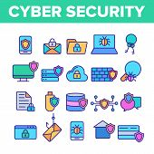 Cyber Security Vector Thin Line Icons Set. Cyber Security, Information Protection Linear Pictograms. poster