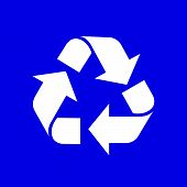 Recycle Symbol White Isolated On Blue Background, White Ecology Icon On Blue, White Arrow Shape For  poster