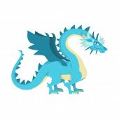Isolated Object Of Dragon And Predator Icon. Set Of Dragon And Wing Stock Symbol For Web. poster