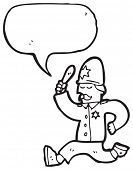 picture of truncheon  - cartoon policeman giving chase - JPG