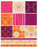 Bright Indian Themed Bollywood Vector Seamless Patterns.  Use to create bold patchwork pieces for qu