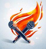 Two Microphones Crossed On Fire, Hot Mic In Flames, Rap Battle Rhymes Music, Karaoke Singing, Vector poster