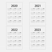 Calendar 2020, 2021,2022 And 2023 Calendar Template.calendar Design.yearly Calendar Vector Design St poster
