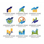 Abstract Business Financial Market Logo.growth Up Arrow Finance Bar Chart Or Stock Exchange Marketin poster
