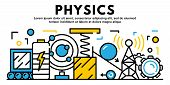 Physics Banner. Outline Illustration Of Physics Vector Banner For Web Design poster