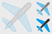 Mesh Jet Airplane Model With Triangle Mosaic Icon. Wire Frame Polygonal Mesh Of Jet Airplane. Vector poster