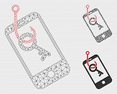 Mesh Smartphone Key Phishing Model With Triangle Mosaic Icon. Wire Frame Polygonal Mesh Of Smartphon poster