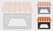 Mesh Store Model With Triangle Mosaic Icon. Wire Carcass Triangular Mesh Of Store. Vector Mosaic Of  poster