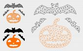 Mesh Halloween Model With Triangle Mosaic Icon. Wire Carcass Triangular Mesh Of Halloween. Vector Co poster
