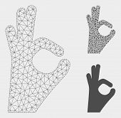 Mesh Ok Gesture Model With Triangle Mosaic Icon. Wire Carcass Polygonal Mesh Of Ok Gesture. Vector M poster