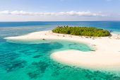 Patawan Island. Small Tropical Island With White Sandy Beach. Beautiful Island On The Atoll, View Fr poster