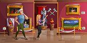 Museum Exhibition Room Cartoon Vector Illustration. Palace Interior Or Art Gallery Of Medieval Castl poster