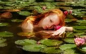 Delicate Young Sexy Redhead Woman Ophelia Swims Sensually Seductively Seduces Sensual In The Water,  poster