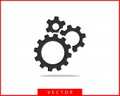 Metal Gears And Cogs Vector. Gear Icon Flat Design. Mechanism Wheels Logo. Cogwheel Concept Template poster