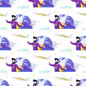 Touristic Seamless Pattern With Happy Tourist Or Traveler, Man With Photo Camera Imagining Vacation  poster