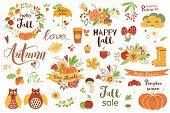 Autumn Floral Set. Colorful Floral Elements For Fall Floral Clipart Flowers Owl Pumpkin Apple Floral poster