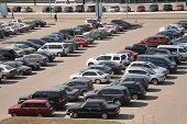 image of parking lot  - many automobiles on parking bright sun day - JPG