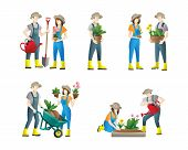 People Gardening. Set Of Vector Flat Illustrations Of People Doing Garden Job - Watering, Planting.  poster