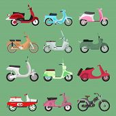 Vintage Retro Bike Scooters Old Fashioned Style Motorbike. Retro Motor Reca And Street Travel Transp poster
