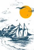 Sailing Yacht Silhouette Sketch Vector Of Sea Yachts. Sailing-ship Hand Drawn Illustration. Regatta  poster