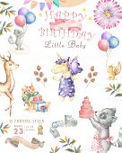 Watercolor Isolated Cute Watercolor Unicorn And Sqirrel Clipart. Nursery Unicorns Illustration. Prin poster